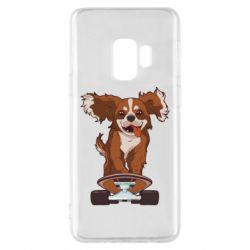 Чехол для Samsung S9 Собака Кавалер на Скейте