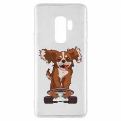 Чехол для Samsung S9+ Собака Кавалер на Скейте