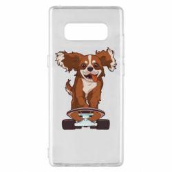 Чехол для Samsung Note 8 Собака Кавалер на Скейте