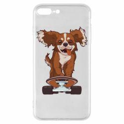 Чехол для iPhone 8 Plus Собака Кавалер на Скейте