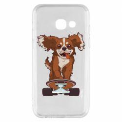 Чехол для Samsung A3 2017 Собака Кавалер на Скейте