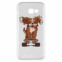 Чехол для Samsung A5 2017 Собака Кавалер на Скейте