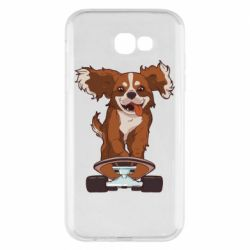 Чехол для Samsung A7 2017 Собака Кавалер на Скейте