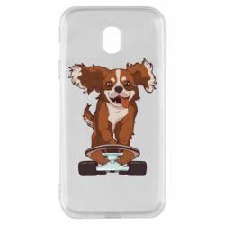 Чехол для Samsung J3 2017 Собака Кавалер на Скейте