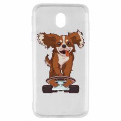 Чехол для Samsung J7 2017 Собака Кавалер на Скейте
