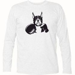Футболка с длинным рукавом Собака в боксерских перчатках - FatLine