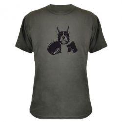 Камуфляжна футболка Собака в боксерських рукавичках