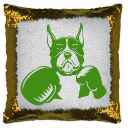 Подушка-хамелеон Собака в боксерських рукавичках
