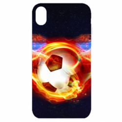 Купить Чехол для iPhone XR Soccer ball on fire in space, FatLine