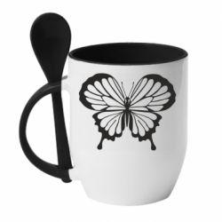 Кружка с керамической ложкой Soft butterfly
