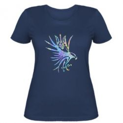 Женская футболка Сокол и герб Украины Голограмма