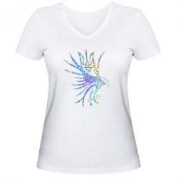 Женская футболка с V-образным вырезом Сокол и герб Украины Голограмма