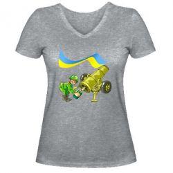 Женская футболка с V-образным вырезом Солдат и шампанское