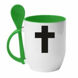 Кружка з керамічною ложкою Solid cross