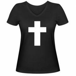 Жіноча футболка з V-подібним вирізом Solid cross