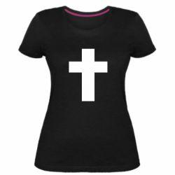 Жіноча стрейчева футболка Solid cross