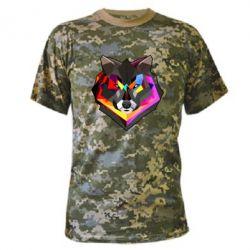 Камуфляжная футболка Сolorful wolf - FatLine