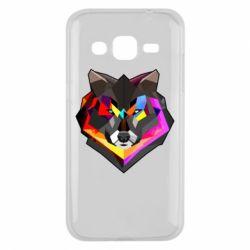 Чехол для Samsung J2 2015 Сolorful wolf