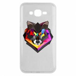 Чехол для Samsung J7 2015 Сolorful wolf
