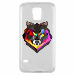 Чехол для Samsung S5 Сolorful wolf