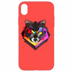 Чехол для iPhone XR Сolorful wolf