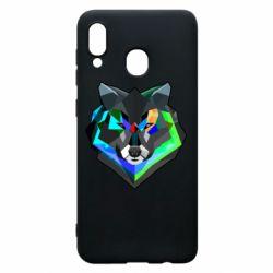 Чехол для Samsung A20 Сolorful wolf