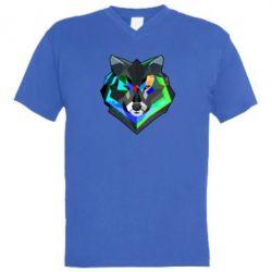 Мужская футболка  с V-образным вырезом Сolorful wolf - FatLine