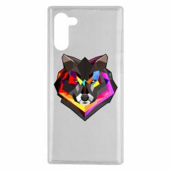 Чехол для Samsung Note 10 Сolorful wolf