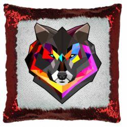 Подушка-хамелеон Сolorful wolf