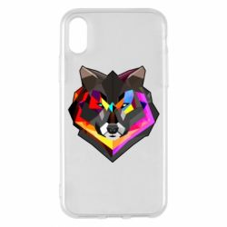 Чехол для iPhone X/Xs Сolorful wolf