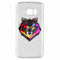 Чехол для Samsung S7 Сolorful wolf