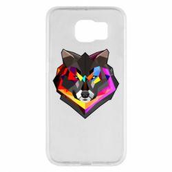 Чехол для Samsung S6 Сolorful wolf