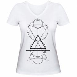Жіноча футболка з V-подібним вирізом Сomposition of geometric shapes
