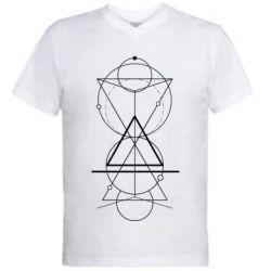 Чоловіча футболка з V-подібним вирізом Сomposition of geometric shapes