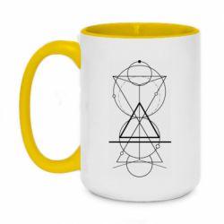 Кружка двоколірна 420ml Сomposition of geometric shapes