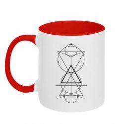 Кружка двоколірна 320ml Сomposition of geometric shapes
