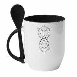 Кружка з керамічною ложкою Сomposition of geometric shapes