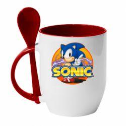 Кружка з керамічною ложкою Sonic lightning