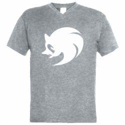 Мужская футболка  с V-образным вырезом Sonic logo