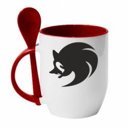 Кружка с керамической ложкой Sonic logo