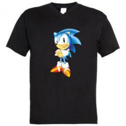 Мужская футболка  с V-образным вырезом Sonic - FatLine