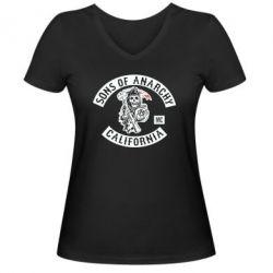 Женская футболка с V-образным вырезом Sons of Anarchy Samcro Original - FatLine