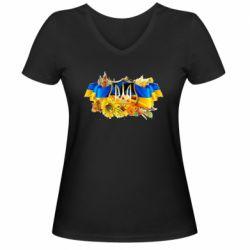 Женская футболка с V-образным вырезом Сонячна Україна - FatLine