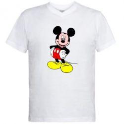 Мужская футболка  с V-образным вырезом Сool Mickey Mouse - FatLine
