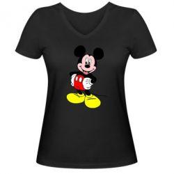Женская футболка с V-образным вырезом Сool Mickey Mouse - FatLine