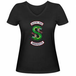 Женская футболка с V-образным вырезом South side serpents