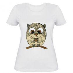 Женская футболка Сова с кофе