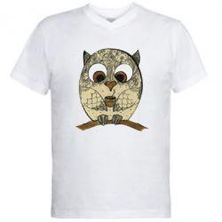 Купить Мужская футболка с V-образным вырезом Сова с кофе, FatLine