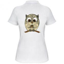 Женская футболка поло Сова с кофе
