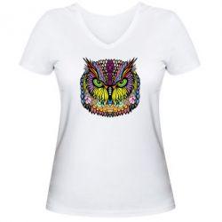 Женская футболка с V-образным вырезом Сова Совентьевна